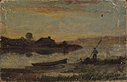 Edward Mitchell Bannister - Untitled (landscape, boat moored near bank with man walking) - 1983.95.114 - Smithsonian American Art Museum.jpg