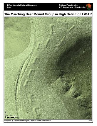 Lidar - Lidar-derived image of Marching Bears Mound Group, Effigy Mounds National Monument.