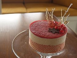 Eggnog mousse cake with almond dacquoise.jpg