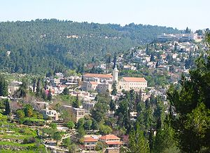 English: PEin Karem, nestled in the hills in s...