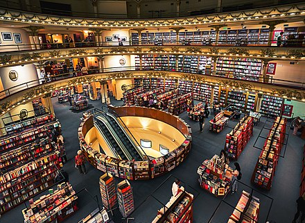 El Ateneo Grand Splendid was named the second most beautiful bookshop in the world by The Guardian. El Ateneo Grand Splendid, Buenos Aires (38984631534).jpg