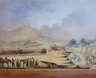 Liberating Expedition of Peru - Image: El Batallón Numancia recibe la Bandera del Ejército Libertador
