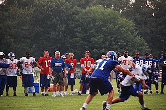2007 New York Giants season - Image: Eli Manning and Q Bs at 2007 Giants camp
