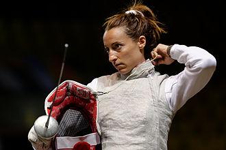 Elisa Di Francisca - Di Francisca fastens her mask cord
