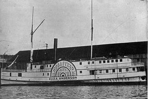 PS Eliza Anderson - Eliza Anderson in later years, with forward deck enclosed, with upper deck extended fully to bow.