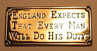 England expects that every man will do his duty - Souvenir plaque commemorating Nelson's signal.