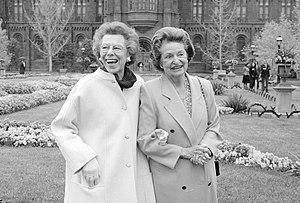 Enid A. Haupt Garden - Lady Bird Johnson strolls in the Haupt Garden with its donor Enid A. Haupt (left)