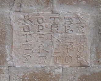 Sator Square - A Sator Square on a brick wall of the 8th century St. Peter ad Oratorium in Italy