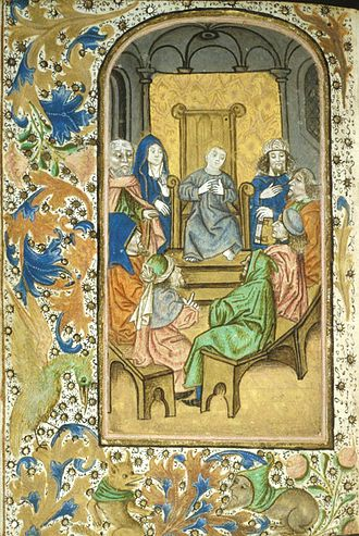 Finding in the Temple - Image: Enkhuisen Book of Hours (folio 39v)