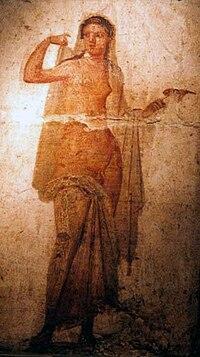 Ermafrodito, affresco Romano di Ercolano (1-50 d.C., Museo Archeologico Nazionale di Napoli) - 02.jpg