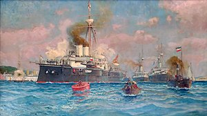 SMS Kronprinzessin Erzherzogin Stephanie - Austro-Hungarian squadron in Kiel, Germany; Kronprinzessin Erzherzogin Stephanie is the rearmost vessel