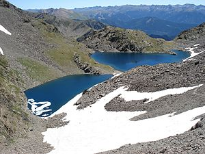Outline of Andorra - Estanys Forcatsdeux, two alpine lakes located near the Pic de Médécourbe and the Pic de Coma Pedrosa