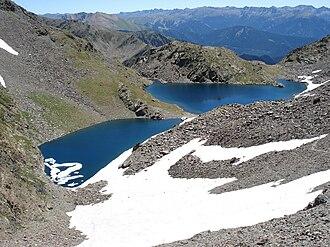 Outline of Andorra - Estanys Forcatsdeux, two alpine lakes located near the Pic de Médécourbe and the Pic de Coma Pedrosa