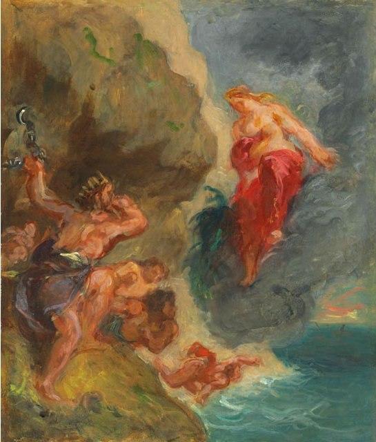 Eugène Delacroix, Winter- Juno and Aeolus, oil sketch, 1856. Oil on canvas, Private Collection.
