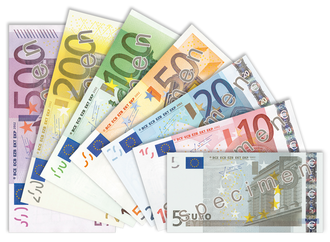 Euro banknotes - Euro banknotes from the first series (2002-2013).