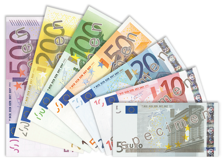 The euro became the currency of members of the Eurozone. Euro banknotes 2002.png