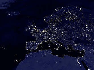 Geography of Europe - Satellite image of Europe by night