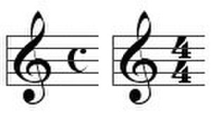 Alla breve - Examples of time signatures for common time.