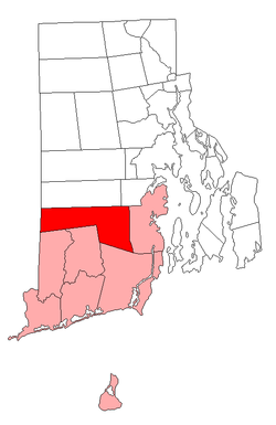 Location of Exeter in Washington County, Rhode Island