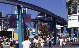 Expo 86 - The monorail at Expo 86. After the site closed, it was shipped to England where it was installed at the Alton Towers theme park in 1987.
