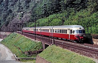 Gottardo (train) - An RAe TEE II trainset in operation as the TEE Gottardo in 1988