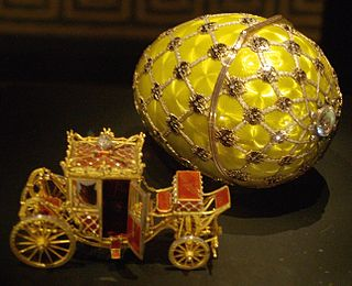 Jeweled Easter eggs mostly made for the Czar of Russia