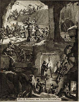 Golconda Diamonds - Diamond mine in the Golconda Sultanate region. Published in 1725
