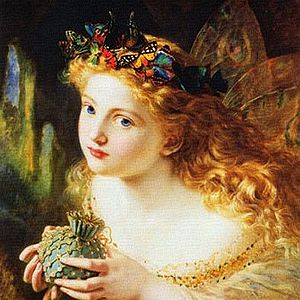 Breton lai - Take the Fair Face of Woman, and Gently Suspending, With Butterflies, Flowers, and Jewels Attending, Thus Your Fairy is Made of Most Beautiful Things, painting Sophie Gengembre Anderson