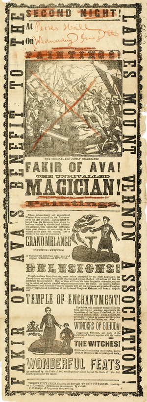 Fakir of Ava - Broadside advertisement for a performance by the Fakir of Ava