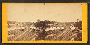 Philadelphia and Reading Railroad, Schuylkill River Viaduct - Image: Falls Station bridge leading to Richmond, near Philadelphia, from Robert N. Dennis collection of stereoscopic views
