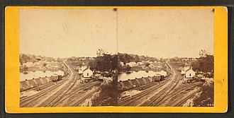 Spider Bridge at Falls of Schuylkill - Image: Falls Station bridge leading to Richmond, near Philadelphia, from Robert N. Dennis collection of stereoscopic views