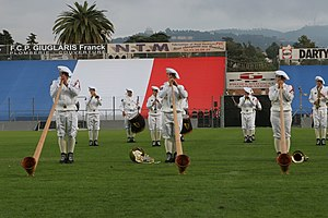 Alphorn - The military band of the French Chasseurs Alpins uses Alphorns.