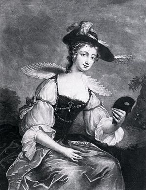 """Fanny Murray - Fanny Murray c. 1750 in a """"Vandyke"""" fancy dress for a masquerade ball, wearing a heavily adorned """"Fanny Murray cap"""" and a low-cut dress"""