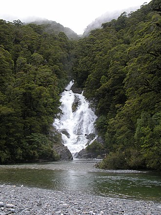 Haast Pass - Fantail falls, in the Haast pass.