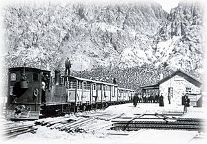 Andean Railway - Passenger train in Mendoza, with the Andes at background.
