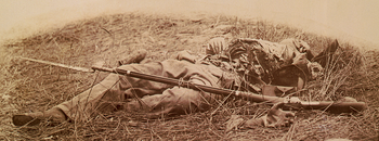 Federal soldier disembowelled by a shell- in the wheatfield Gettysburg 3July1863- detail LOC-LC-USZC4-1824.png