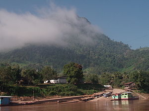 Luang Prabang Range - On the Laotian side, the mountains of the range reach the shores of the Mekong
