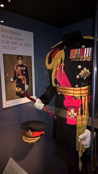 Field marshal (United Kingdom) - Field Marshal's uniform and baton (pertaining to the late Sir John Stanier) on display in the Royal Scots Dragoon Guards Museum, Edinburgh Castle.