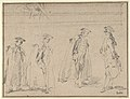 Figure Studies (recto); Figures Along a Canal and on a Bridge; to the right, a Curtain and a Stool (?) (verso) MET DP810104.jpg