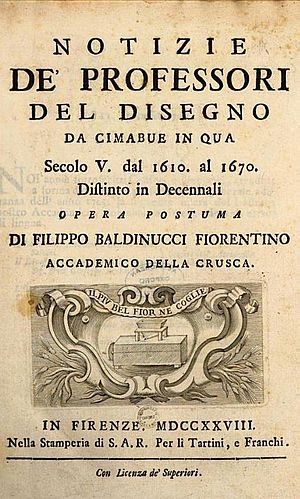 Artists in biographies by Filippo Baldinucci - Titlepage of Notizie de' Professori del Disegno, Da Cimabue in qua, Secolo V. dal 1610. al 1670. Distinto in Decennali (or Notice of the Professors of Design, from Cimabue to now, from 1610–1670). Stamperia S.A.R. per li Tartini, e Franchi (1681)