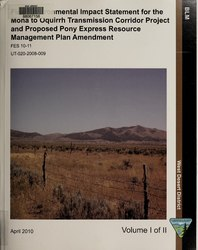 Final environmental impact statement for the Mona to Oquirrh transmission corridor project and proposed Pony Express resource management plan amendment