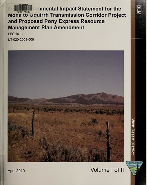 File:Final environmental impact statement for the Mona to Oquirrh transmission corridor project and proposed Pony Express resource management plan amendment (IA finalenvironment01unse 1).pdf
