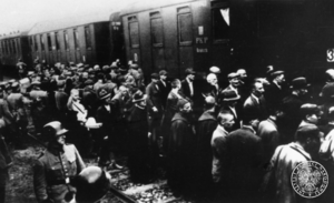 First mass transport to Auschwitz concentration camp - Prisoners of the first transport at the railway station in Tarnów. 14th June 1940