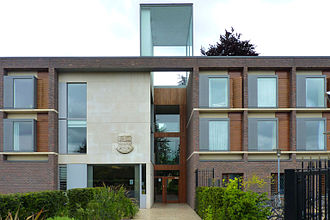 Storey's Way - Main entrance and porters' lodge of Fitzwilliam College.