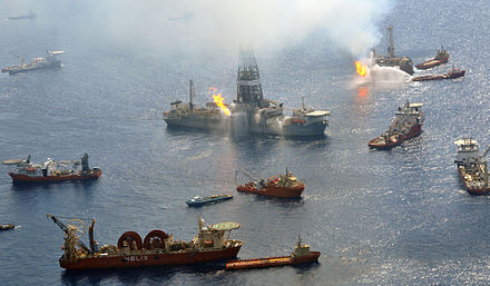 The Discoverer Enterprise and the Q4000 work around the clock burning undesirable gases from the still uncapped Deepwater Horizon well in the Gulf of Mexico. 26 June 2010 Flickr - DVIDSHUB - Oil Spill.jpg