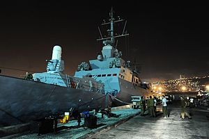 Gaza flotilla raid - The INS ''Hanit'' at Haifa naval base