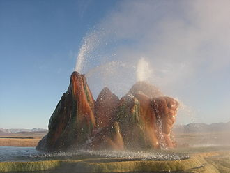 Black Rock Desert - The continuous Fly Geyser of Fly Ranch is on private land and began in 1916 when water well drilling accidentally penetrated a geothermal source.