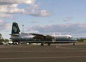 Rotorua Regional Airport - An Air New Zealand Fokker F27 on the apron in 1985