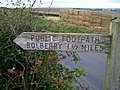 Footpath sign at Rew Cross - geograph.org.uk - 226486.jpg