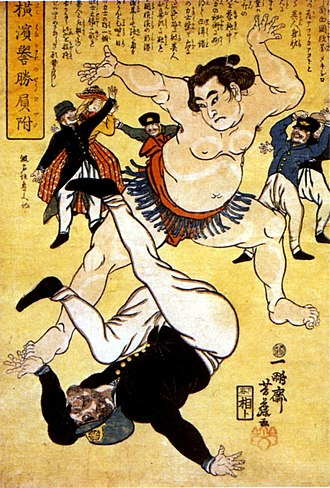 Sumo - Foreigner and sumo wrestler, 1861